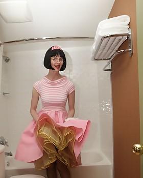 Poodle skirt bathroom slut featuring Julia the Suggestive Teacher