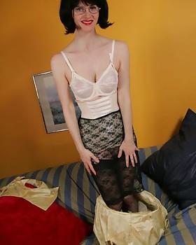 Slip, girdle striptease with Julia the Wicked Teacher
