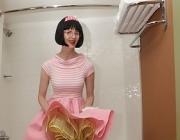 Poodle skirt bathroom slut featuring Julia the Kinky Teacher