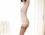 Delightful girdle, sheer slip and heels featuring Julia the Suggestive Teacher
